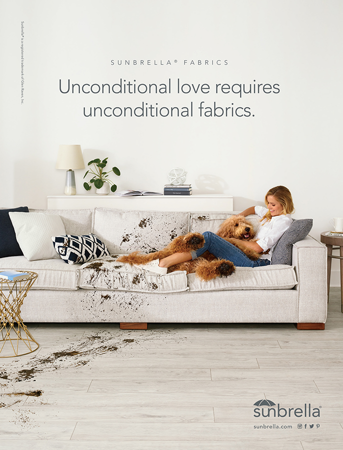 21589-GR-Sunbrella Unconditional Campaign-Muddy Dog Indoor FP_8x10.5_Southern Living.indd